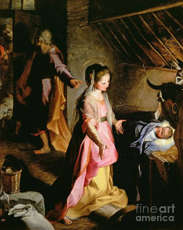 Nativity Print featuring the painting The Adoration Of The Child by Federico Fiori Barocci or Baroccio