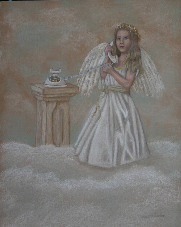 Angel Art Print featuring the painting The Answer Is On The Way by Sandra Poirier