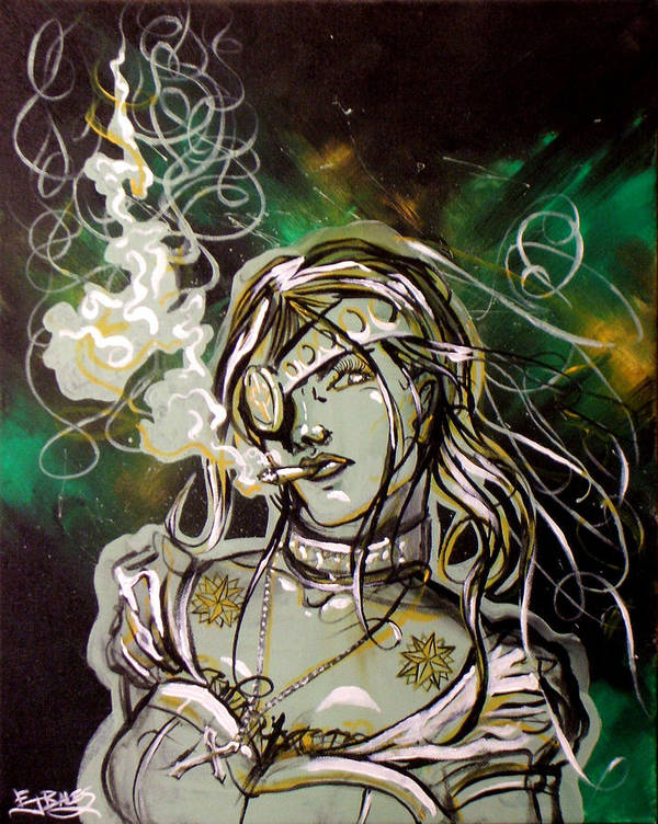 Smoke Art Print featuring the painting The Anti-heroine by Ericka Bales