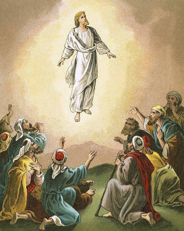 Bible; Ascension; Jesus; Christ; Heaven; Verse Print featuring the painting The Ascension by English School