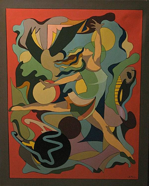 Abstract Art Print featuring the painting The Ballet Dancer by Vasilis Bottas