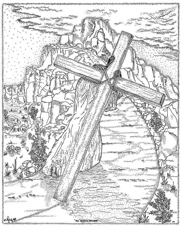 Jesus Christ Print featuring the drawing The Burden Endured by Glenn McCarthy Art and Photography