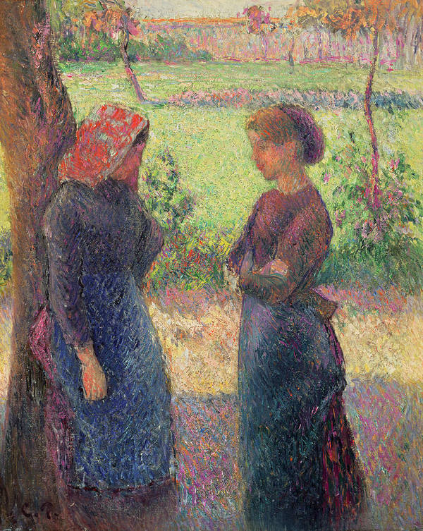 The Art Print featuring the painting The Chat by Camille Pissarro