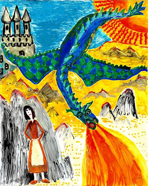 Sue Burgess Art Print featuring the painting The Dragon by Sushila Burgess