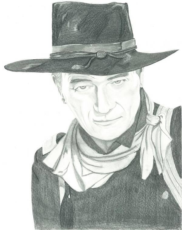 John Wayne Art Print featuring the drawing The Duke by Seventh Son