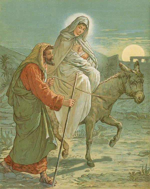 Bible; The Flight Into Egypt; Donkey; Jesus Christ; Baby; Joseph; Virgin Mary; Night; Desert Print featuring the painting The Flight Into Egypt by John Lawson