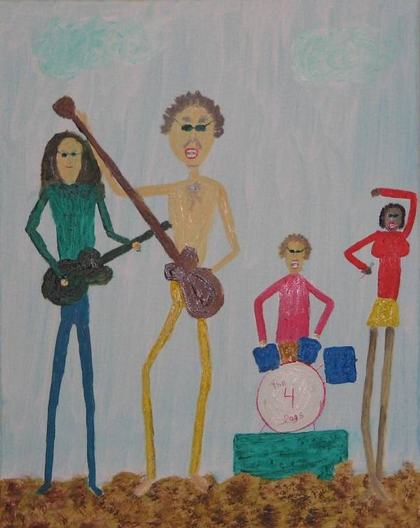 Music Art Print featuring the painting The Four Dogs Band by Gregory Davis