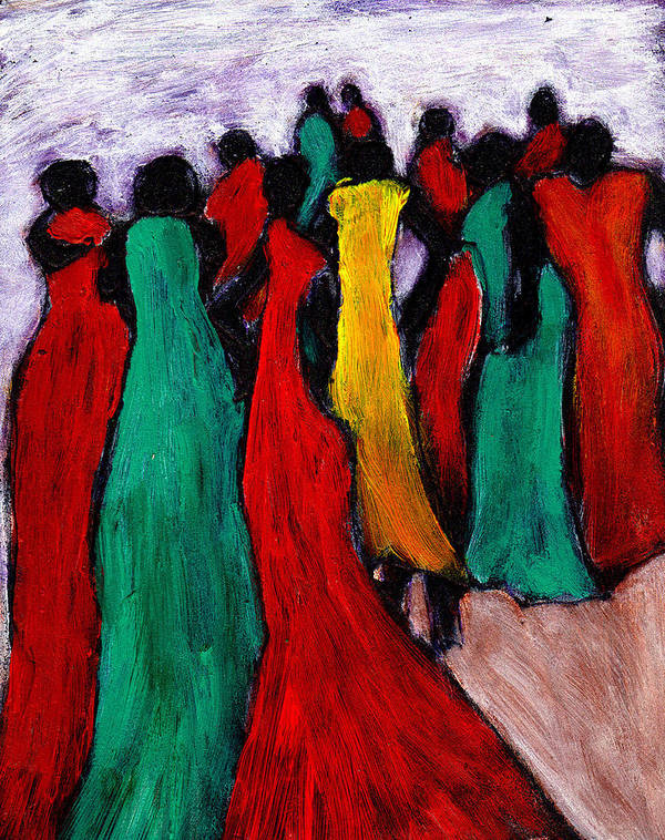 Black Art Art Print featuring the painting The Gathering by Wayne Potrafka