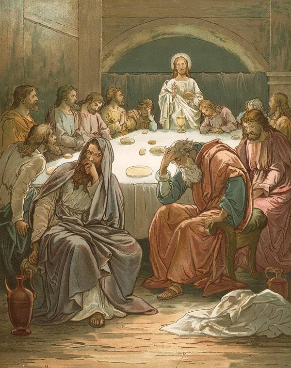 Bible; The Last Supper; Jesus Christ; Judas Isacariot; Breaking Bread; Wine Art Print featuring the painting The Last Supper by John Lawson