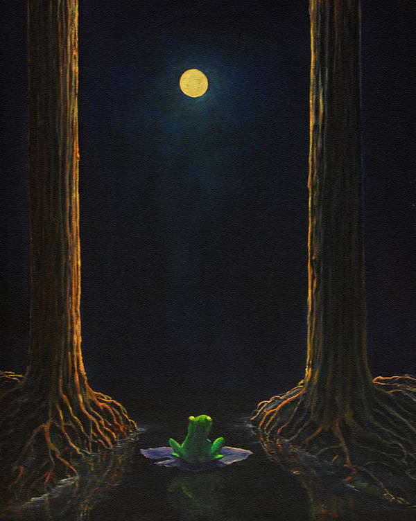 Landscape Animal Frog Trees Mystic Art Print featuring the painting The Little Frog by Craig shanti Mackinnon