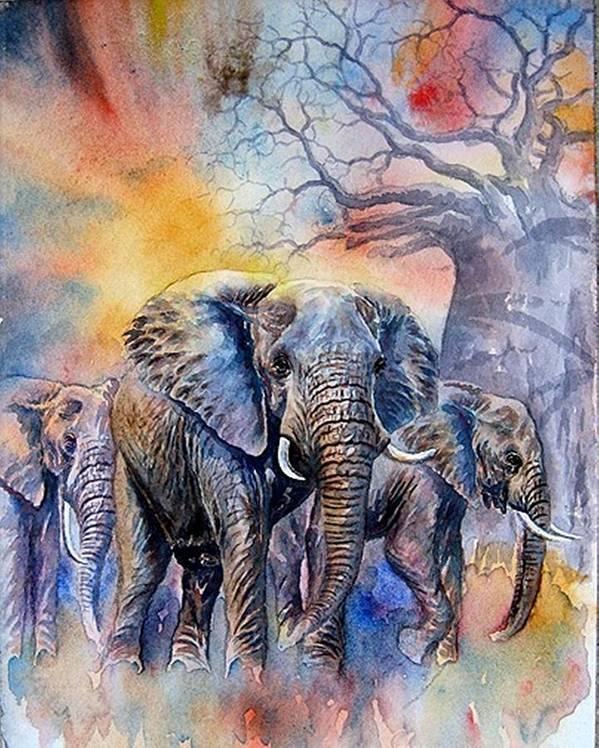 Masai Mara Art Print featuring the painting The Masai Mara Elephants by William Mutua