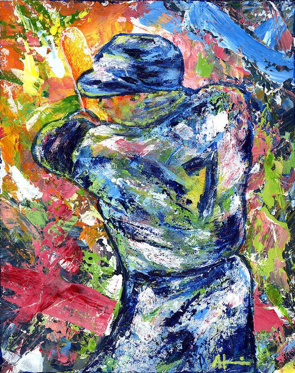 Oil Painting Art Artwork Acrylic Impressionist Impressionism Palette Knife Texture Giclee Print Reproduction Colorful Bright Athlete Athletic Sports Figures Human Mickey Mantle Left Handed New York Yankees Mick Baseball Switch Hitter Mlb Major League Professional Champion Throwing Catch Outfield Shortstop First Second Third Single Double Triple Base Grand Slam No Hitter Play Of The Day Highlight Uniform Stadium Commitment Consecutive Record Hits Home Run Runs Batted In Rbi Color Colour Colourful Art Print featuring the painting The Mick Mickey Mantle by Ash Hussein