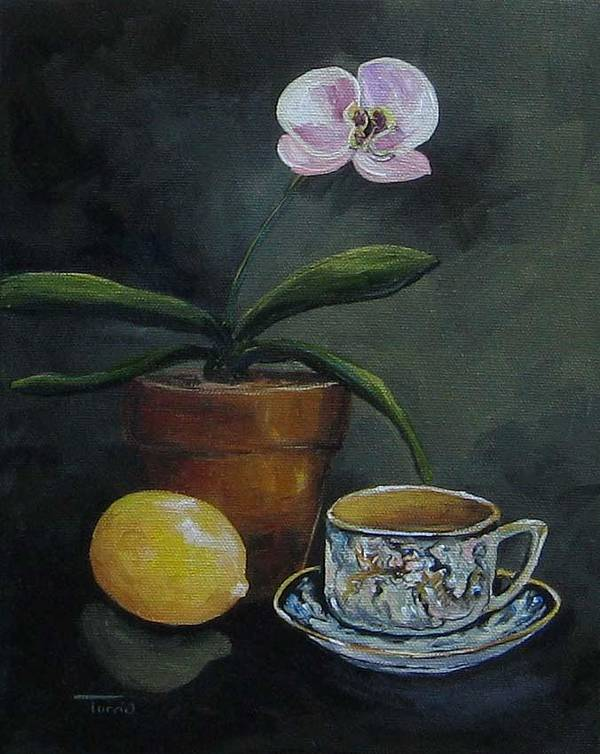 Orchid Art Print featuring the painting The Orchid And The Dragon by Torrie Smiley