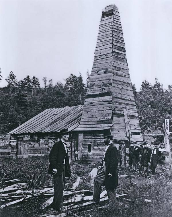 History Print featuring the photograph The Original 1859 Drake Oil Well by Everett