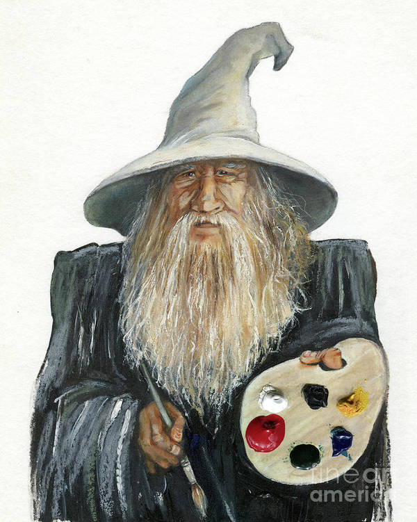 Wizard Art Print featuring the painting The Painting Wizard by J W Baker