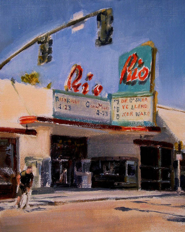 Cityscape Art Print featuring the painting The Rio Theater by Merle Keller