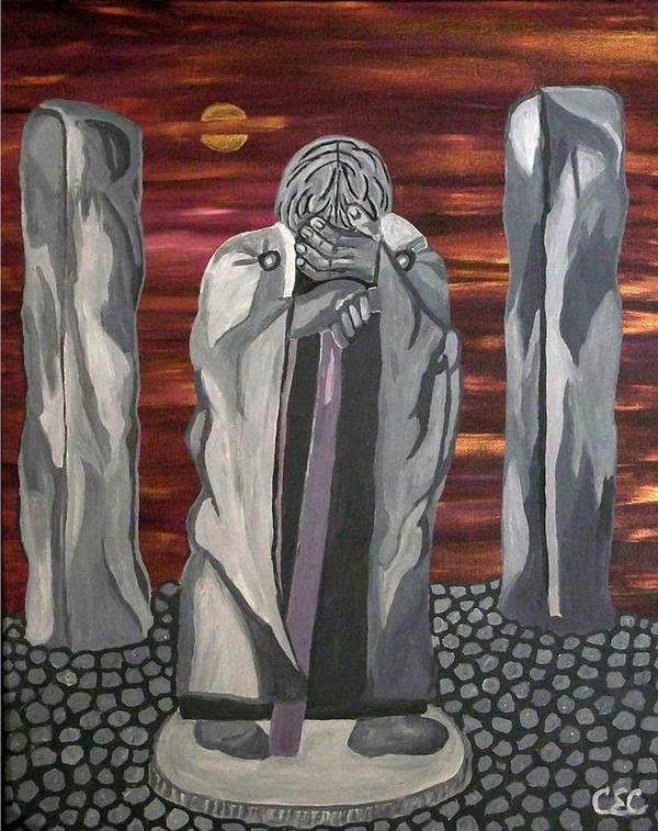 Stone Art Print featuring the painting The Seer by Carolyn Cable
