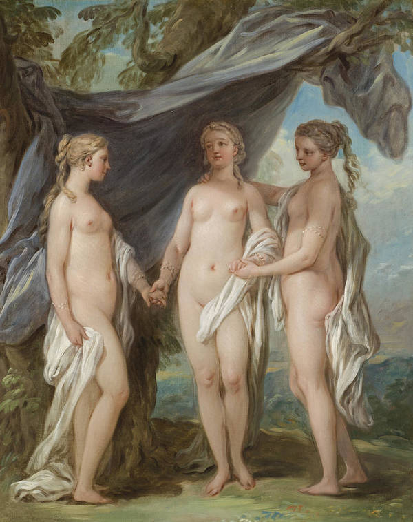 The Three Graces Art Print featuring the painting The Three Graces by Charles-Amedee-Philippe van Loo