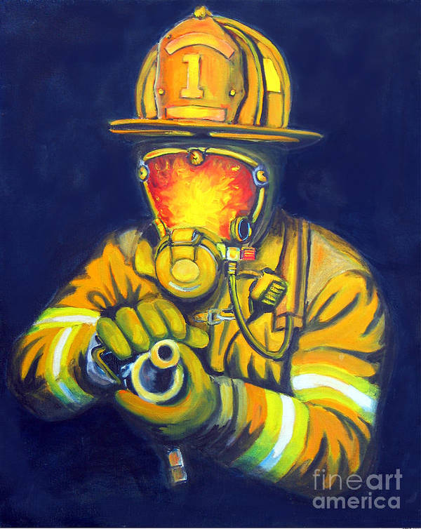 Firefighter Art Print featuring the painting The Tip by Paul Walsh