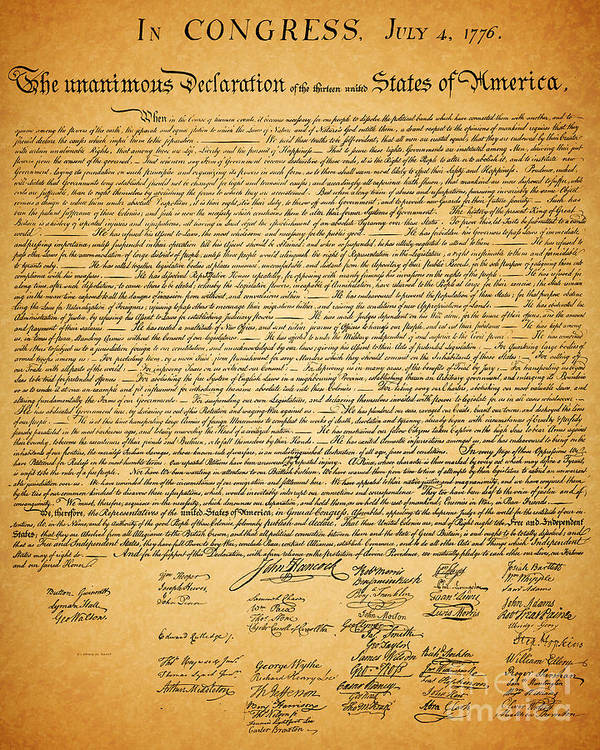 Usa Art Print featuring the photograph The United States Declaration Of Independence by Wingsdomain Art and Photography