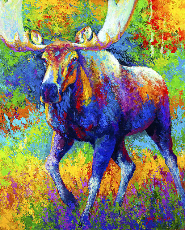 Moose Art Print featuring the painting The Urge To Merge - Bull Moose by Marion Rose