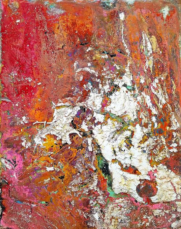 Abstract Art Print featuring the painting The Wall by Rosa Lopez