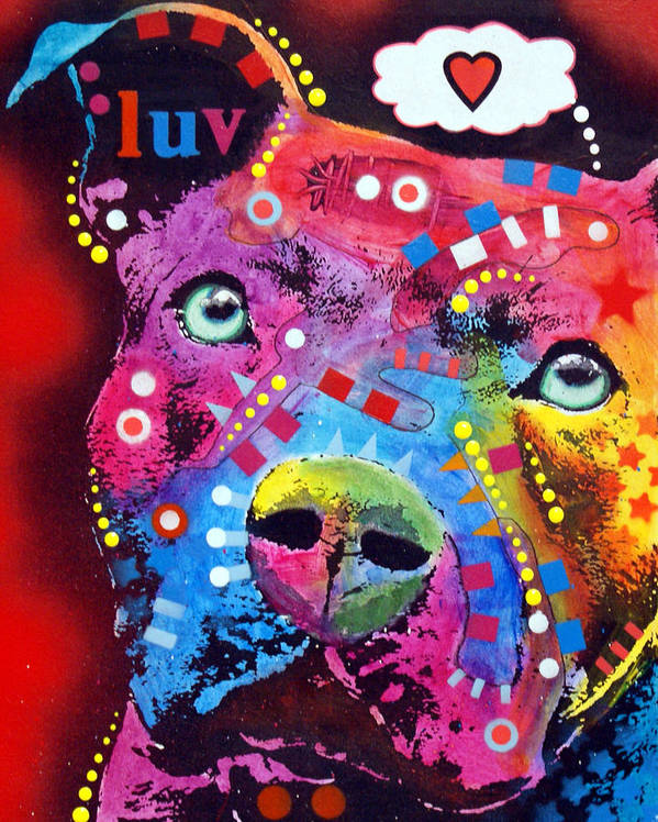 Dean Russo Print featuring the painting Thoughtful Pitbull Thinks Luv by Dean Russo