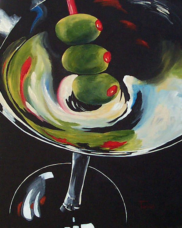Martini Art Print featuring the painting Three Olive Martini IIi by Torrie Smiley