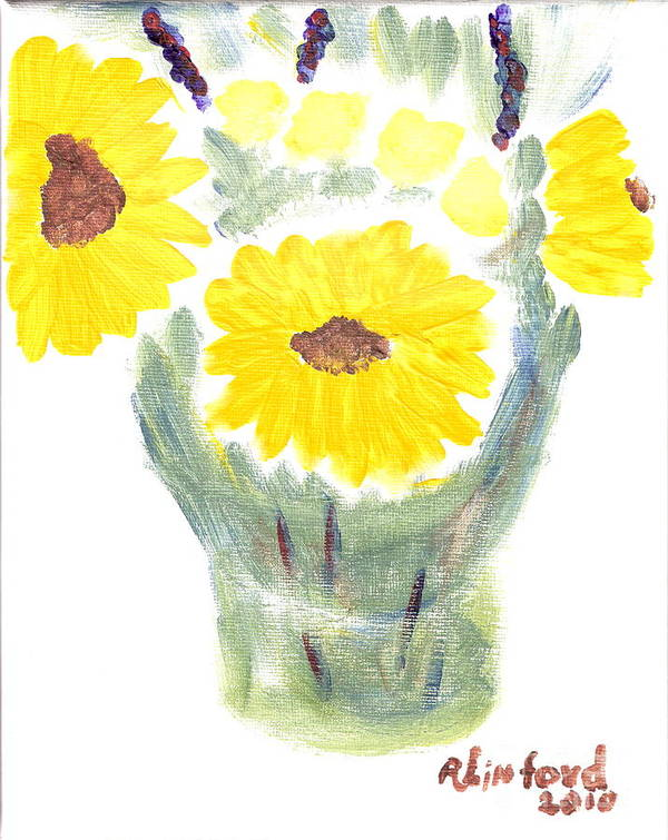 Sunflowers Art Print featuring the painting Three Sunflowers by Richard W Linford
