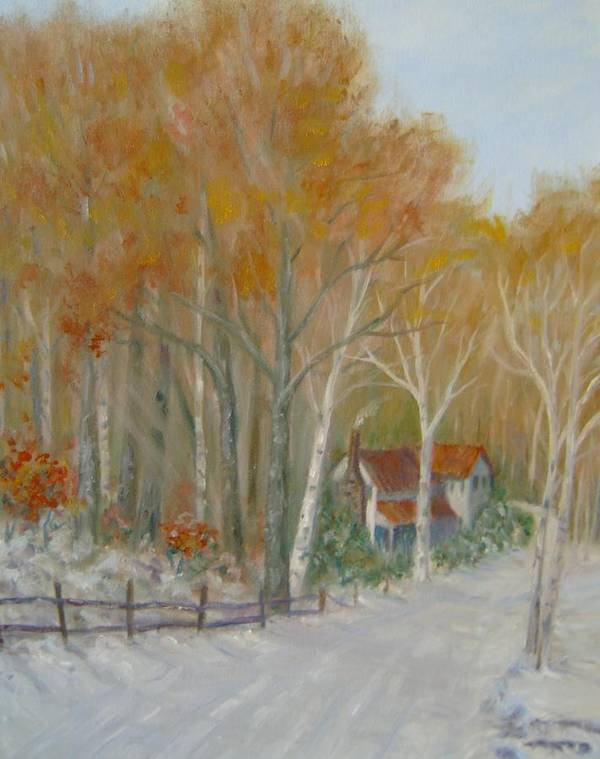Country Road; House; Snow Art Print featuring the painting To Grandma's House by Ben Kiger