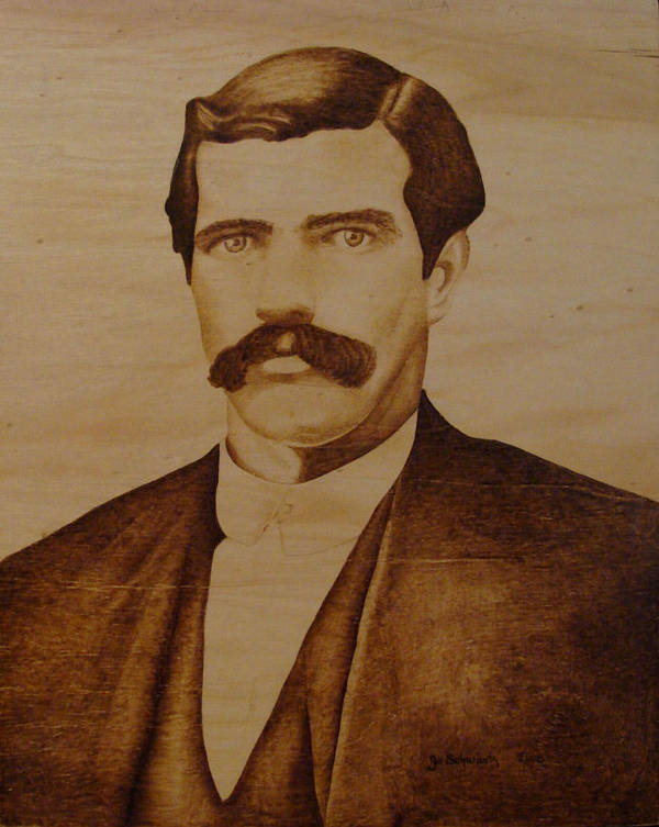 Pyrography; Woodburning; Sepia; Old West; Sheriff; Art Print featuring the pyrography Tom Smith by Jo Schwartz