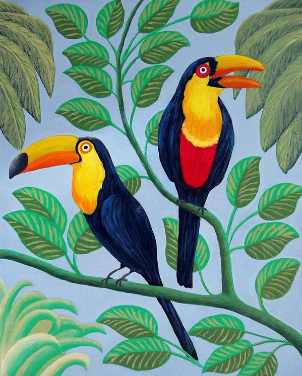 Birds Paintings Art Print featuring the painting Toucans by Frederic Kohli