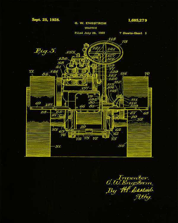 Patent Art Print featuring the mixed media Tractor Patent Drawing 5h by Brian Reaves