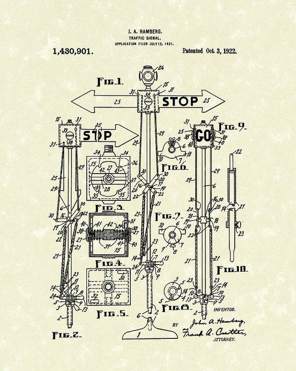 Hamberg Art Print featuring the drawing Traffic Signal 1922 Patent Art by Prior Art Design