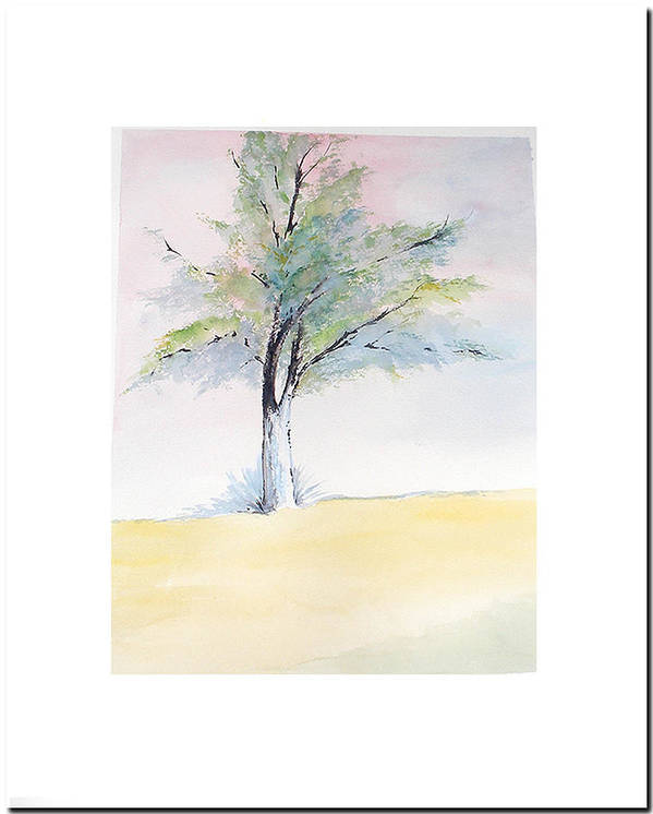 Tree Art Print featuring the painting Tree In Pastel Colors by Sibby S