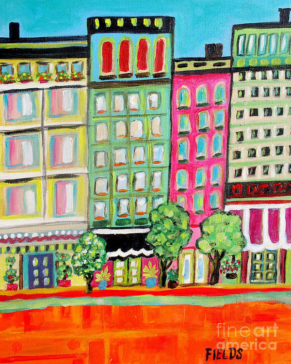 Folk Art Print featuring the painting Tree Line Avenue by Karen Fields