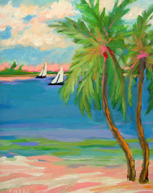Sailboat Art Print featuring the painting Tropical Sails by Karen Fields