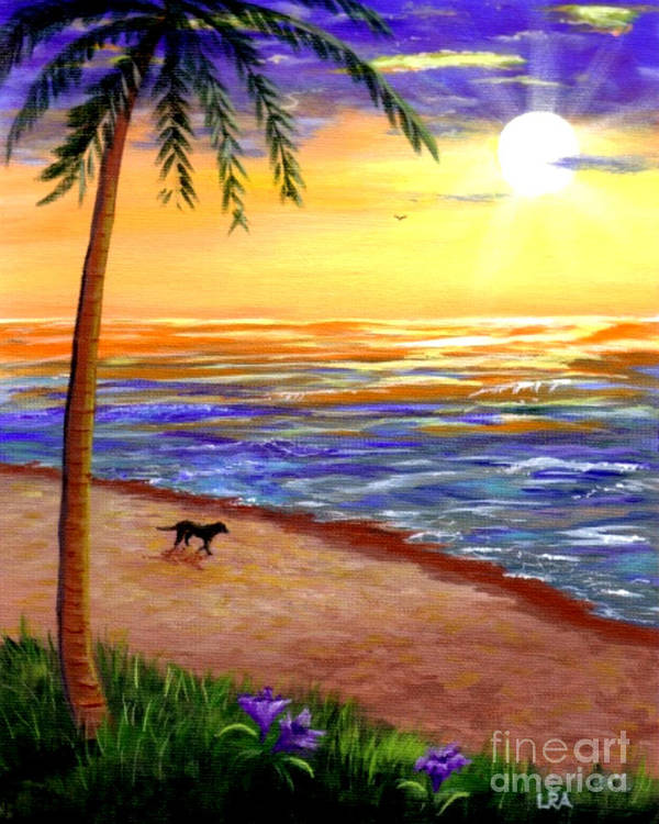 Tropical Art Print featuring the painting Tropical Sunset by Lisa Adams