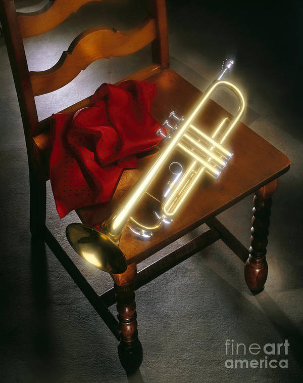 Trumpet Art Print featuring the photograph Trumpet On Chair by Tony Cordoza