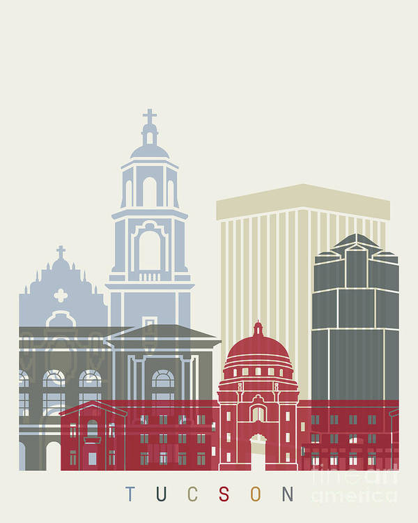 Tucson Art Print featuring the painting Tucson Skyline Poster by Pablo Romero