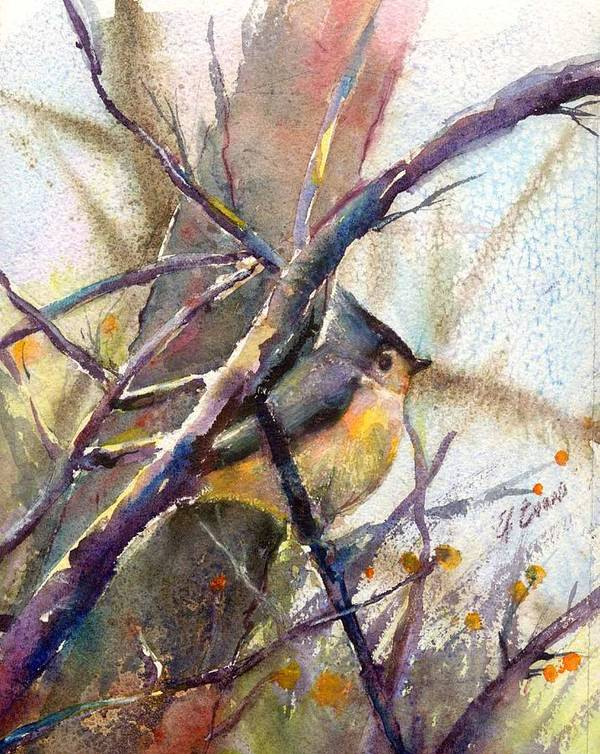 Birds Art Print featuring the painting Tuffed Titmouse 2 by Elizabeth Evans