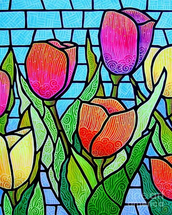 Tulips Art Print featuring the painting Tulip Garden by Jim Harris