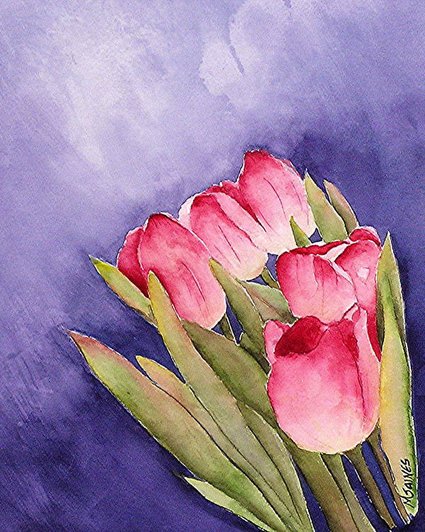 Red Tulips Art Print featuring the painting Tulips In The Wind by Mary Gaines