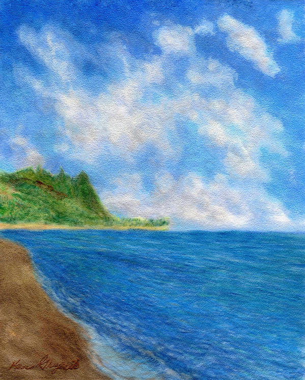 Rainbow Colors Pastel Art Print featuring the painting Tunnels Beach Sky by Kenneth Grzesik