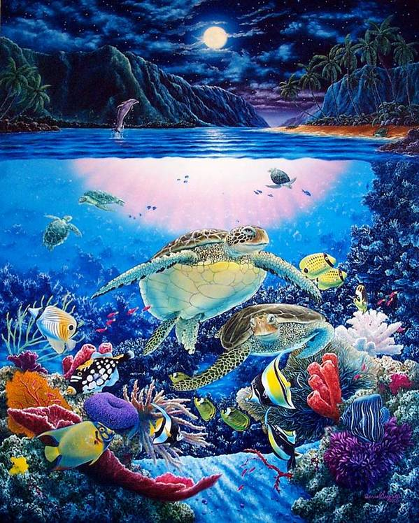 Dolphins Art Print featuring the painting Turtle Bay by Daniel Bergren