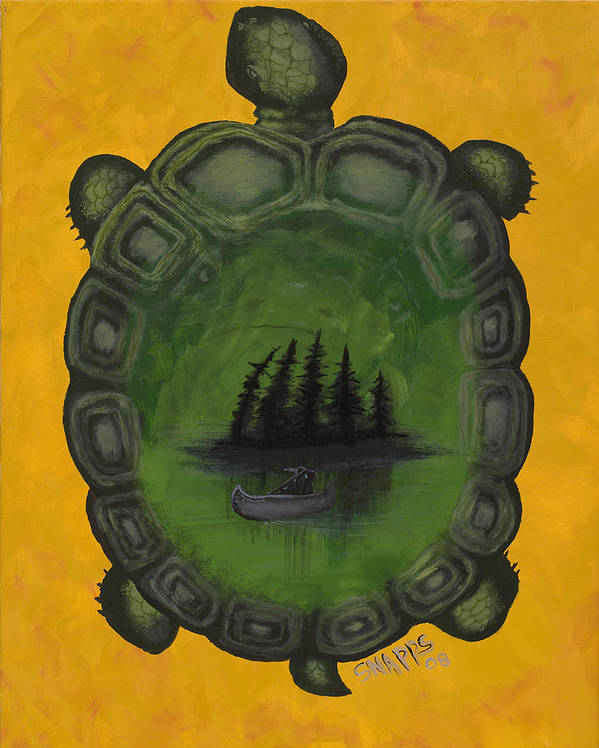 Turtle Art Print featuring the painting Turtle Island by Derek Snapps Keenatch