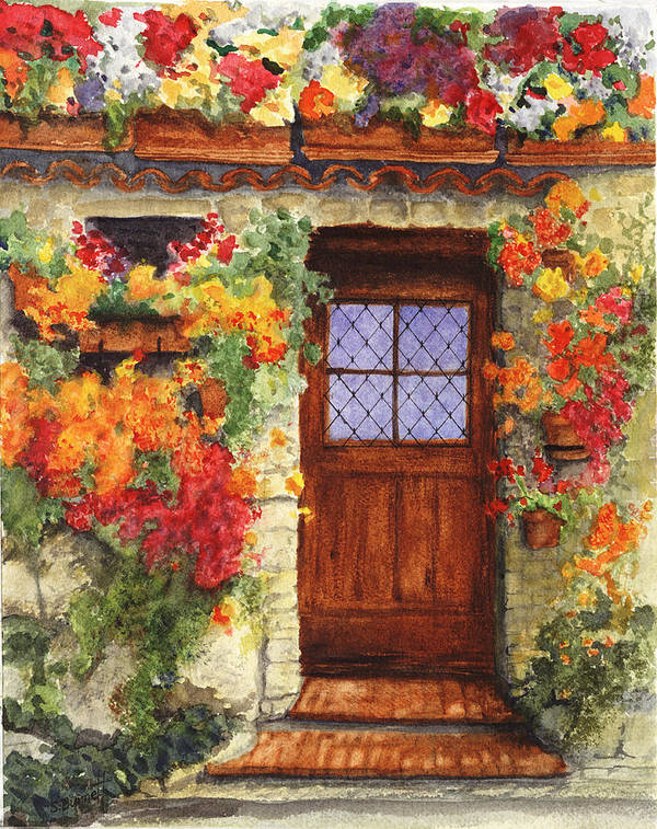 Italy Art Print featuring the painting Tuscan Door by Sherry Burnett