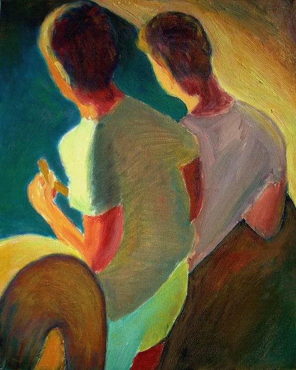 Dornberg Art Print featuring the painting Two Boys On A Boat by Bob Dornberg