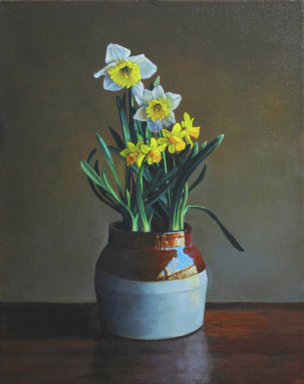 Daffodils Art Print featuring the painting Two Kinds by Alan Cayton