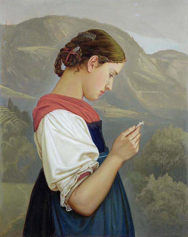 Tyrolean Girl Contemplating A Crucifix Print featuring the painting Tyrolean Girl Contemplating A Crucifix by Rudolph Friedrich Wasmann